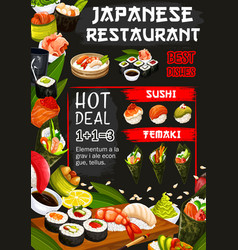Japanese restaurant poster with seafood raw dishes vector