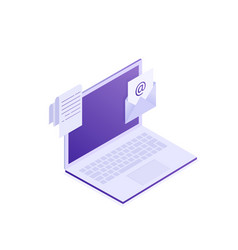 laptop with envelope and document on screen vector image