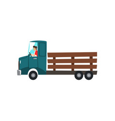 Man driving truck delivery farming concept vector