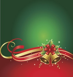 Merry christmas background with bells and ribbons vector
