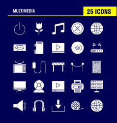 multimedia solid glyph icon for web print and vector image