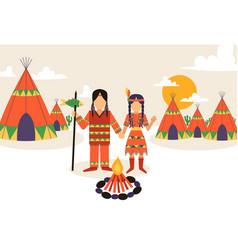 native american settlement vector image