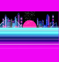 neon city at sunset vector image