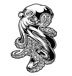 Octopus sea drawing black vector