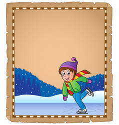 parchment with boy skating on ice vector image