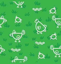 pattern chickens walking on grass and pecking vector image