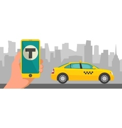 Phone with interface taxi on a screen on a vector