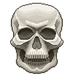 pixel human skull isolated vector image
