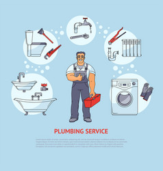 plumbing services infographics poster design vector image