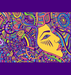 Psychedelic colorful fantasy face girl with crazy vector