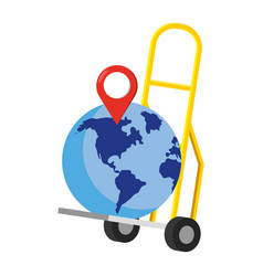 Pushcart with a globe vector