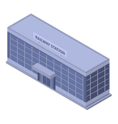 Railway building station icon isometric style vector