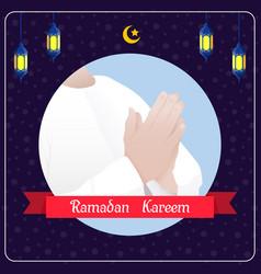 Ramadhan kareem banner with muslim man praying vector