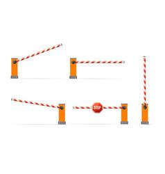 Realistic detailed 3d parking barrier gate set vector