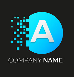 Realistic letter a logo in colorful circle vector