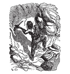 Robinson crusoe defending the cave vintage vector