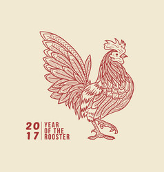 Rooster line vector