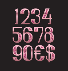 Rose gold glittering numbers with dollar and euro vector