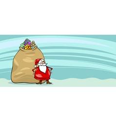 Santa Claus and sack cartoon card vector image