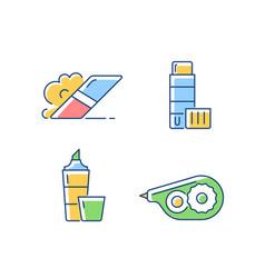 school accessories rgb color icons set vector image