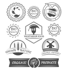 Set of organic badges and labels vector