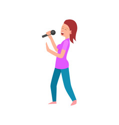 singing lady holding microphone woman with mike vector image