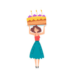 Smiling girl with big piece cake over her head vector