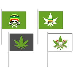 Smoking drugs flag Rasta Hat skull Cannabis leaf vector