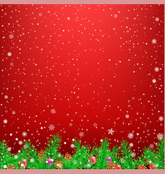 spruce branch red snow background vector image