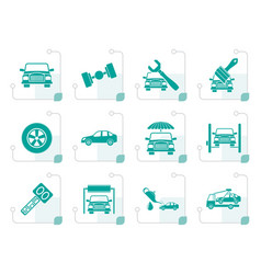 Stylized auto service and transportation icons vector