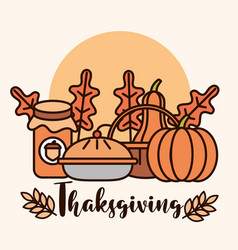 thanksgiving day traditional food pumpkins cake vector image