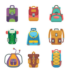 tourist city and school color backpack flat icon vector image