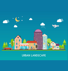 urban landscape modern buildings and suburb vector image
