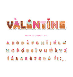 valentine sweet font cute decorative alphabet vector image