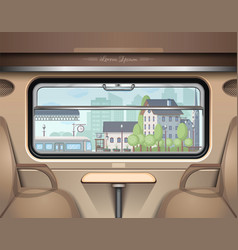 View railway station from train window vector