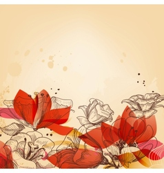 Vintage floral card abstract red flowers vector