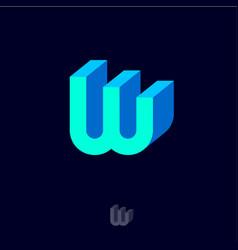 W logo emblem monogram volume blue letter vector