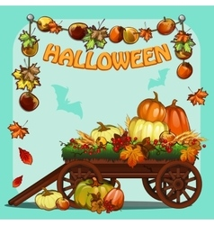 Wagon with pumpkins for Halloween vector image