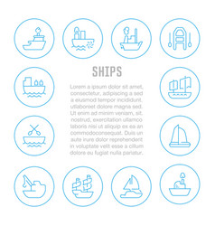Website banner and landing page ships vector