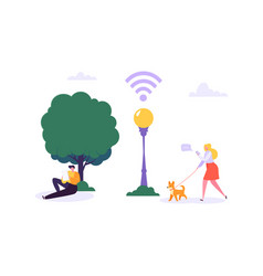 wifi in park walking people using smartphone vector image