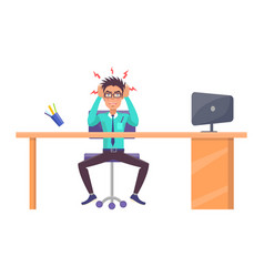 worker looks tired and angry vector image