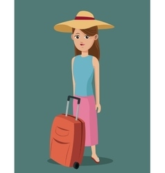 Young girl shirt hat suitcase traveling vector