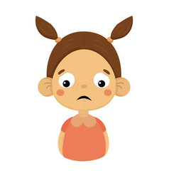 disappointed little girl flat cartoon portrait vector image vector image