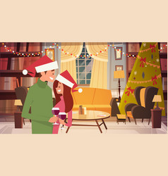 happy couple in santa hats embracing in living vector image
