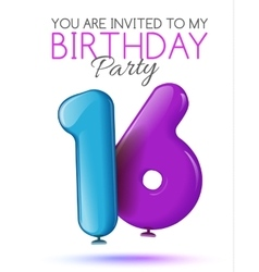 Invitation card for the celebration of 16 years vector image