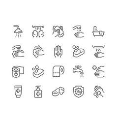 Line hygiene icons vector