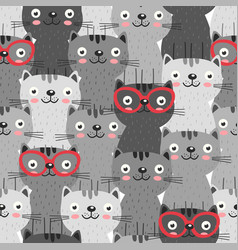 seamless pattern with gray cats in red glasses vector image vector image