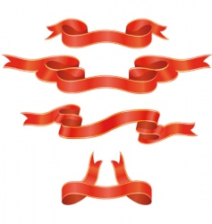 set of red ribbons illustration vector image vector image
