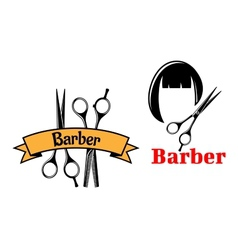 Barber icons and emblems vector image