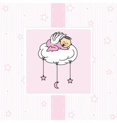 Birth card baby girl vector image